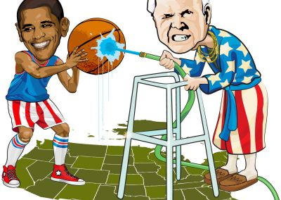 Senator John McCain spraying a hose at Senator Barack Obama over a field of states