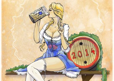 Blonde girl in a dirndl drinking beer, sitting with a barrel