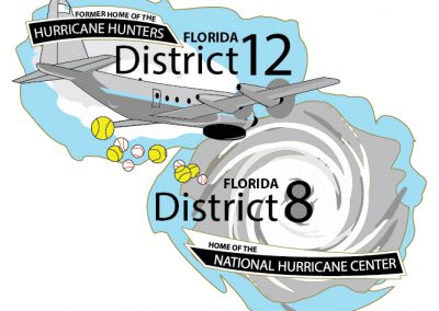 Airplane dropping baseball and softballs into a hurricane with the text District 12 and District 8