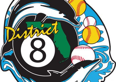 "2 dolphins, an 8 ball, and baseball and softballs with the set ""District 8"""