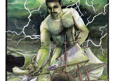 A giant Freddie Mercury threatening tall sailing ships at sea during a thunderstorm