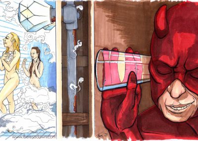 Daredevil listening to two girls showering through a wall