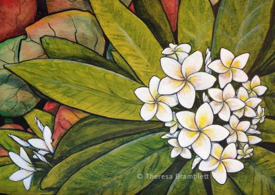 Painting of Plumerias on leaves