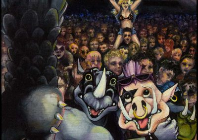 Oil painting of Bebop and Rocksteady at a KISS concert