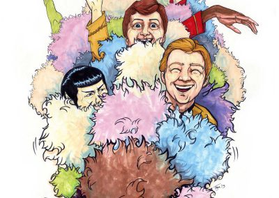 Cartoon of Captain Kirk, Mr, Spock, and Dr. McCoy covered in tribbles and laughing